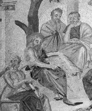 Accademia di Atene, particolare di mosaico (Pompei)