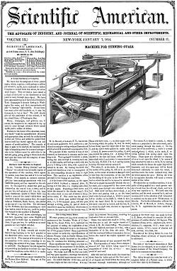 Numero del 7 gennaio 1854. Nell'immagine compare un macchinario per la tornitura di ovali